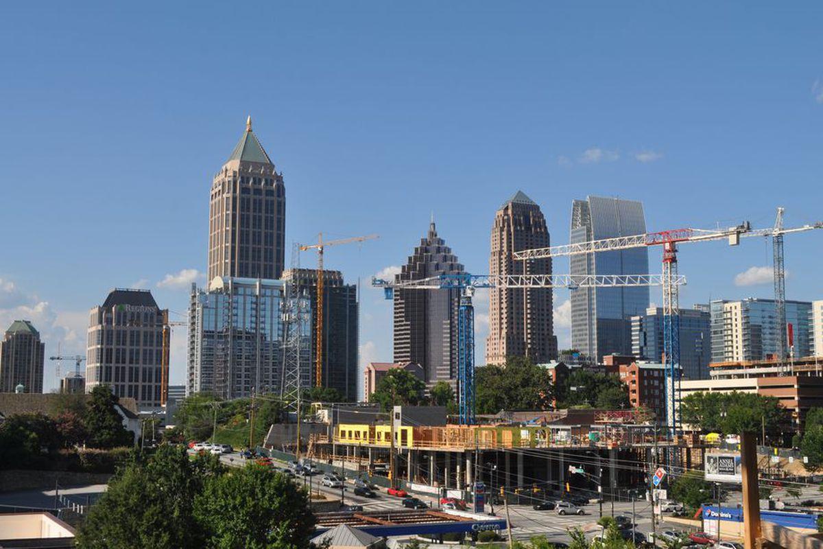 A photos of cranes building up Midtown Atlanta this year.