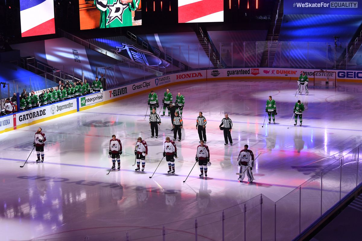 A general view of pre-game ceremonies is seen before Game Three of the Western Conference Second Round of the 2020 NHL Stanley Cup Playoff between the Colorado Avalanche and the Dallas Stars at Rogers Place on August 26, 2020 in Edmonton, Alberta.