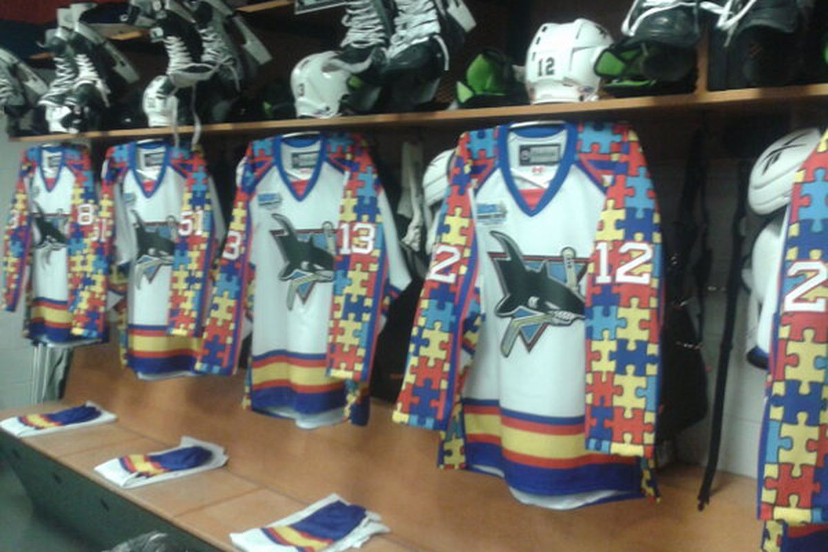 A shot of the specialty jerseys the Worcester Sharks wore Saturday night to benefit the Autism Resource Center of Central Massachusetts.