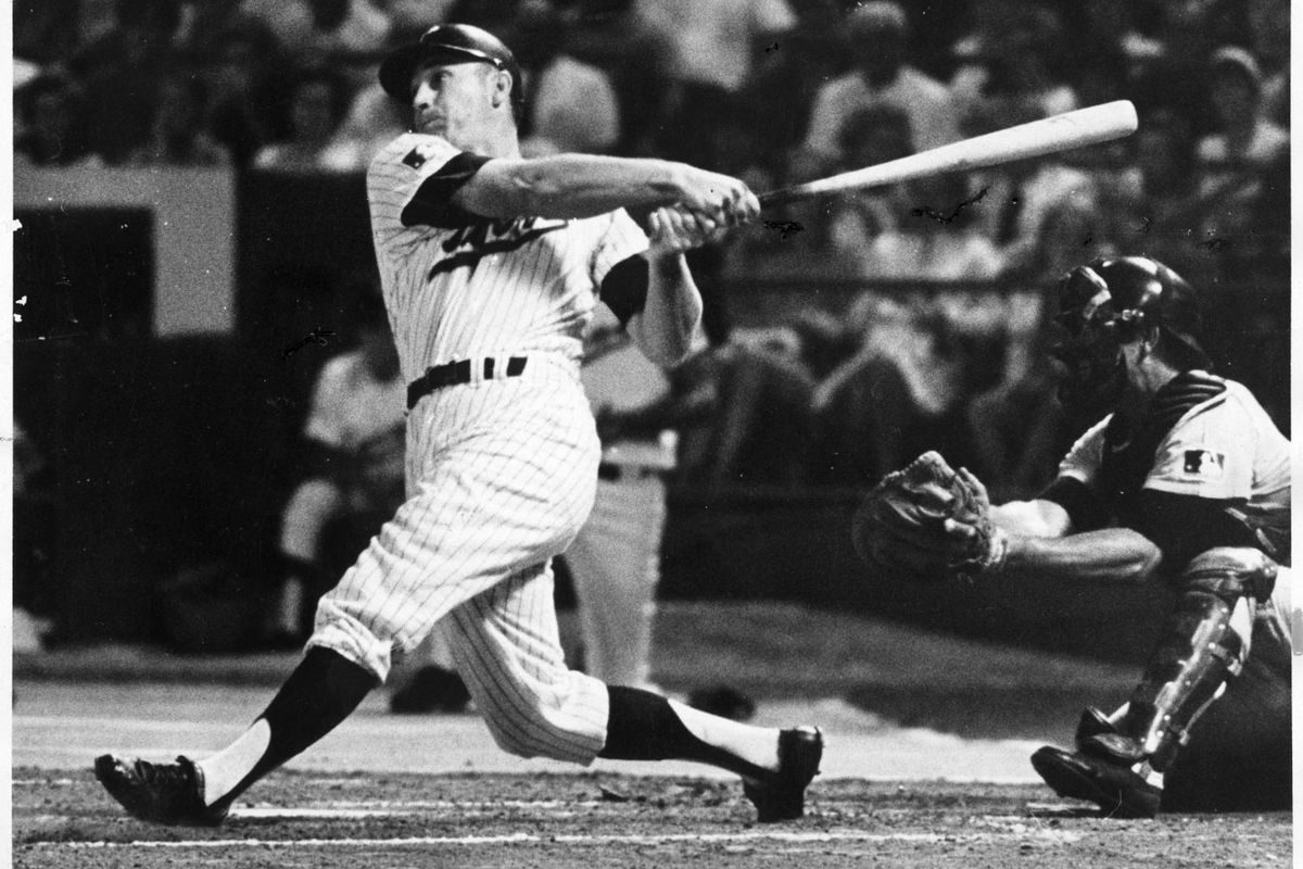Harmon Killebrew hammered his 37th home run to boost the Twins lead on Friday August 29, 1969. He won the American League MVP that year. Minneapolis Tribune photo Friday August 29, 1969, by Minneapolis Tribune photographer Powell Krueger, first ran the ne