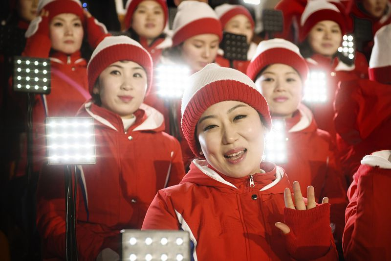 Members of the North Korean cheering band.
