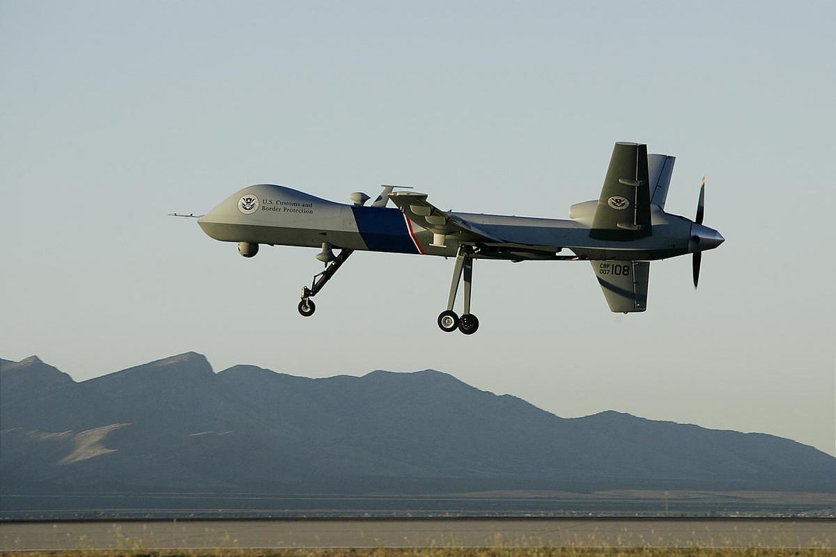 A Predator drone unmanned aerial vehicle takes off on a U.S. Customs Border Patrol.