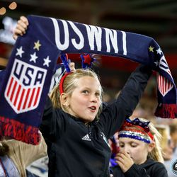 September 3, 2019 - Saint Paul, Minnesota, United States - A young fan hold up a scarf as USA defeated Portugal in the World Cup Victory Tour match at Allianz Field.
