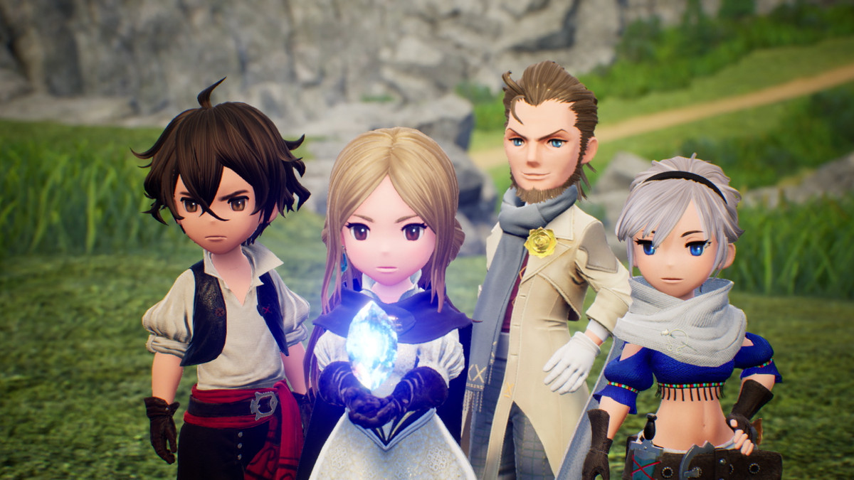 The four main characters from fantasy RPG bravely default 2 gather around a glowing crystal.