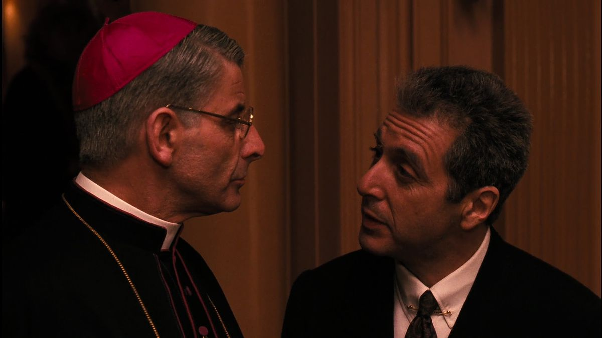 Michael Corleone talks to a cardinal in Godfather 3
