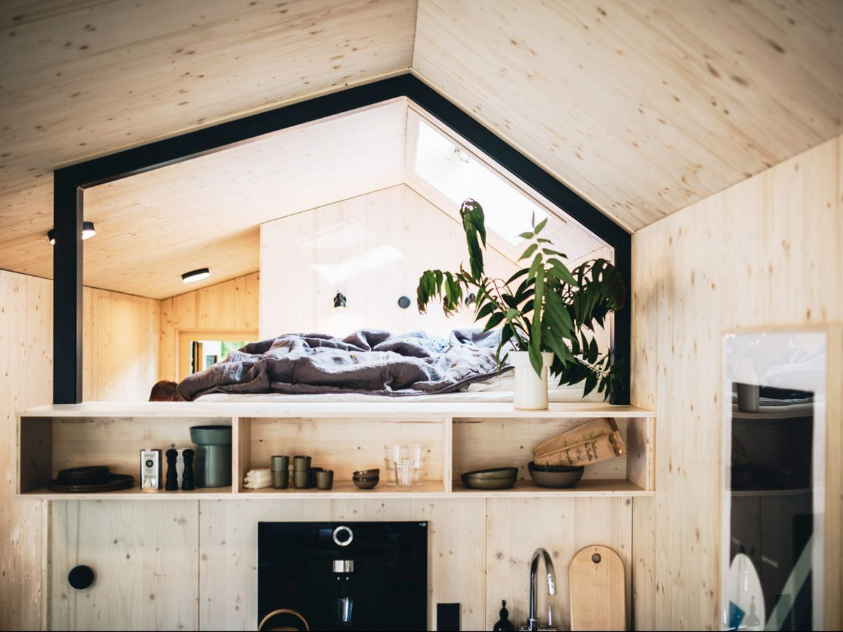 White timber interior with loft bed