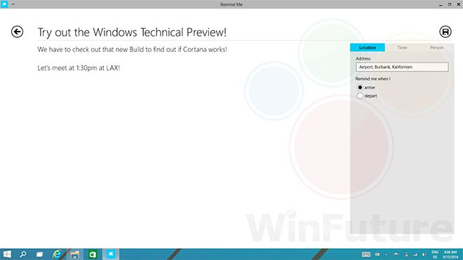 Cortana Windows 9 (WinFuture)