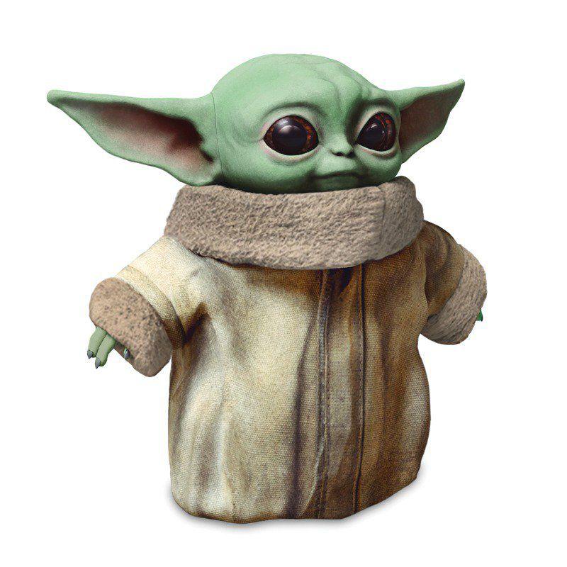 A product shot of Mattel's Baby Yoda plush