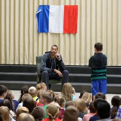Utah Jazz center Rudy Gobert visits with students at Foxboro Elementary School in North Salt Lake, on Wednesday, Sept. 20, 2017.