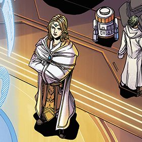 Jedi Master Avar Kriss stands with an orange-topped astromech behind her, in Star Wars: The High Republic #1, Marvel Comics (2021).