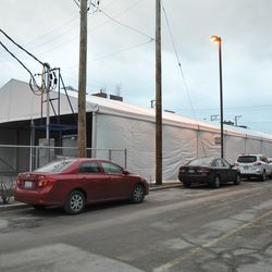 The VIP/players parking tent along Seminary Avenue -