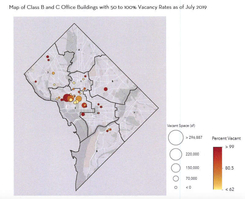 A map of a city subdivided into administrative regions. The map shows where the most-vacant mid- and low-market office buildings are located.