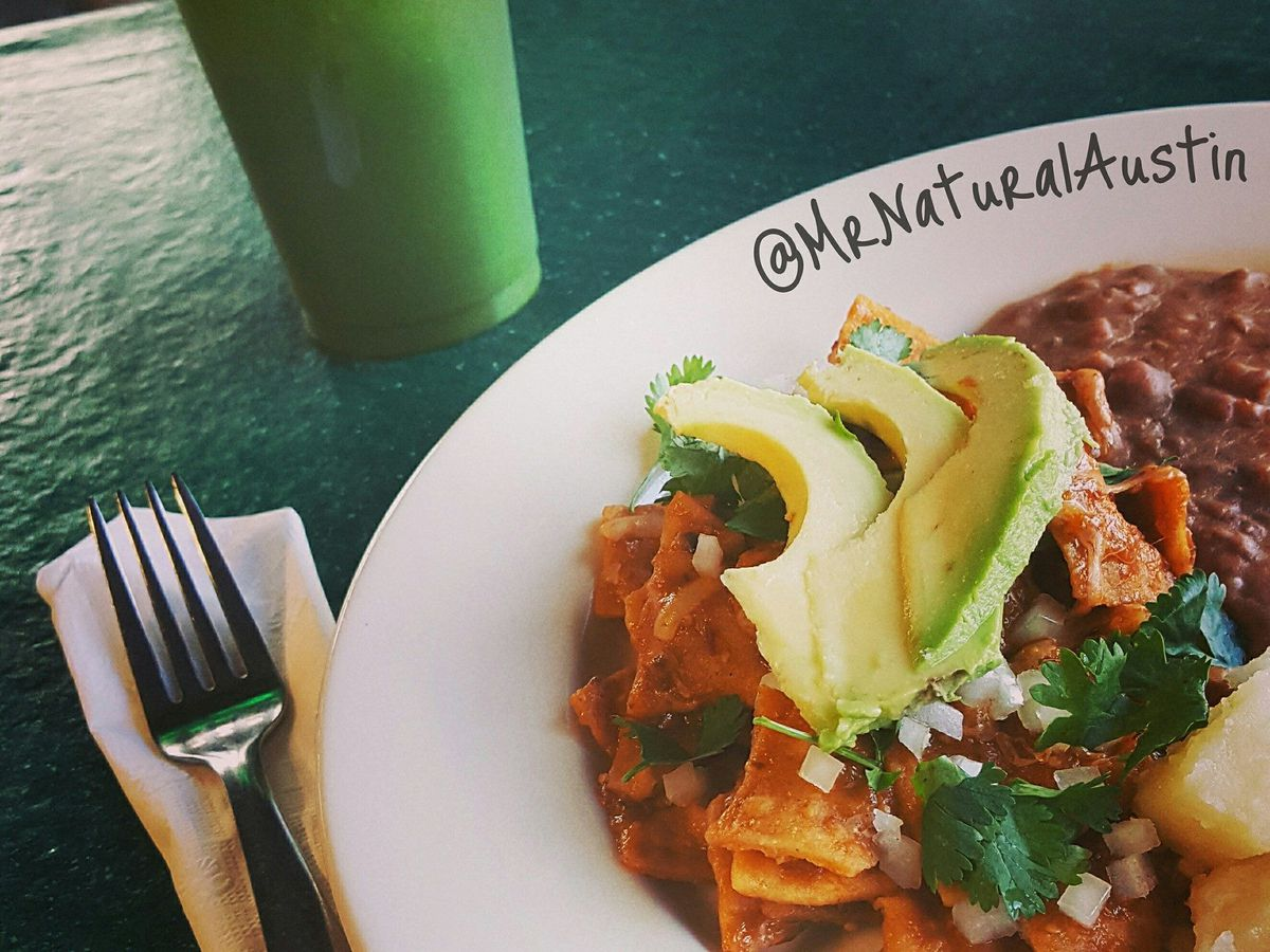 Chilaquiles and a spinach-pineapple agua fresca at Mr. Natural