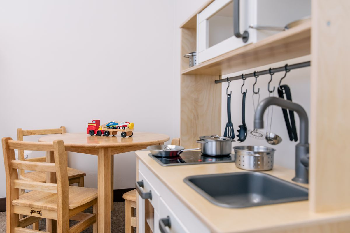 A close-up of toys in a new therapy room for infants and toddlers in Little Village.