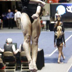 Utah's Georgia Dabritz performs on the vault during the NCAA Salt Lake Regional Gymnastics Saturday, April 7, 2012 in Salt Lake City.