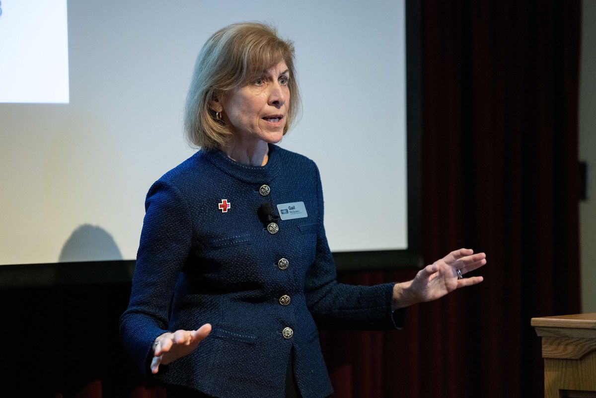 American Red Cross President and CEO Gail McGovern speaks to BYU MBA students in Provo, Utah, on Sept. 24, 2021.