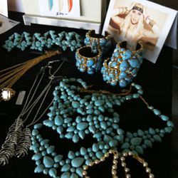 All turquoise bibs, cuffs, and earrings are $70.