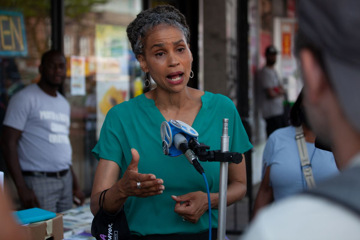 Mayoral candidate Maya Wiley campaigns in East Flatbush the day before the Democratic primary, June 21, 2021.