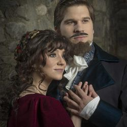 """Shae Robins as Mercedes and Preston Yates as Edmond Dantes in the BYU production of Broadway composer Frank Wildhorn's """"The Count of Monte Cristo."""""""