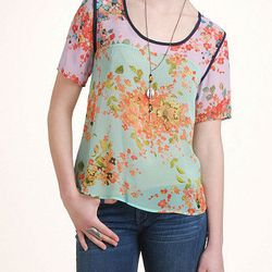 """Collective Concepts <a href=""""http://www.southmoonunder.com/Collective-Concepts-Floral-Sheer-Tee/159684,default,pd.html?"""">Sheer Floral Tee</a>, $54 at South Moon Under"""