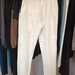 White leather pants with black pocket detail, $125 (sample)