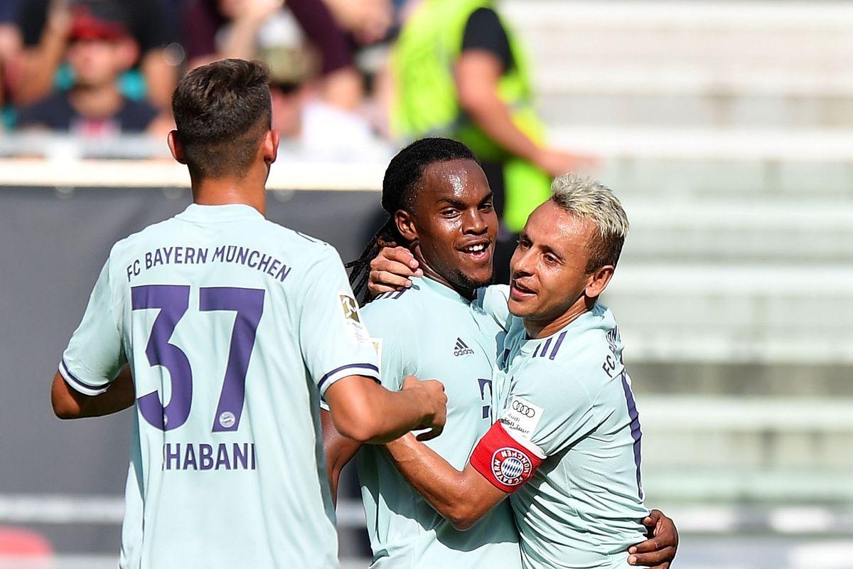 KLAGENFURT, AUSTRIA - JULY 21: Renato Sanches of Bayern Munich(C) celebrates after scoring his sides second goal during the International Champions Cup 2018 match between Bayern Munich and Paris Saint-German at Worthersee Stadion on July 21, 2018 in Klagenfurt, Austria.
