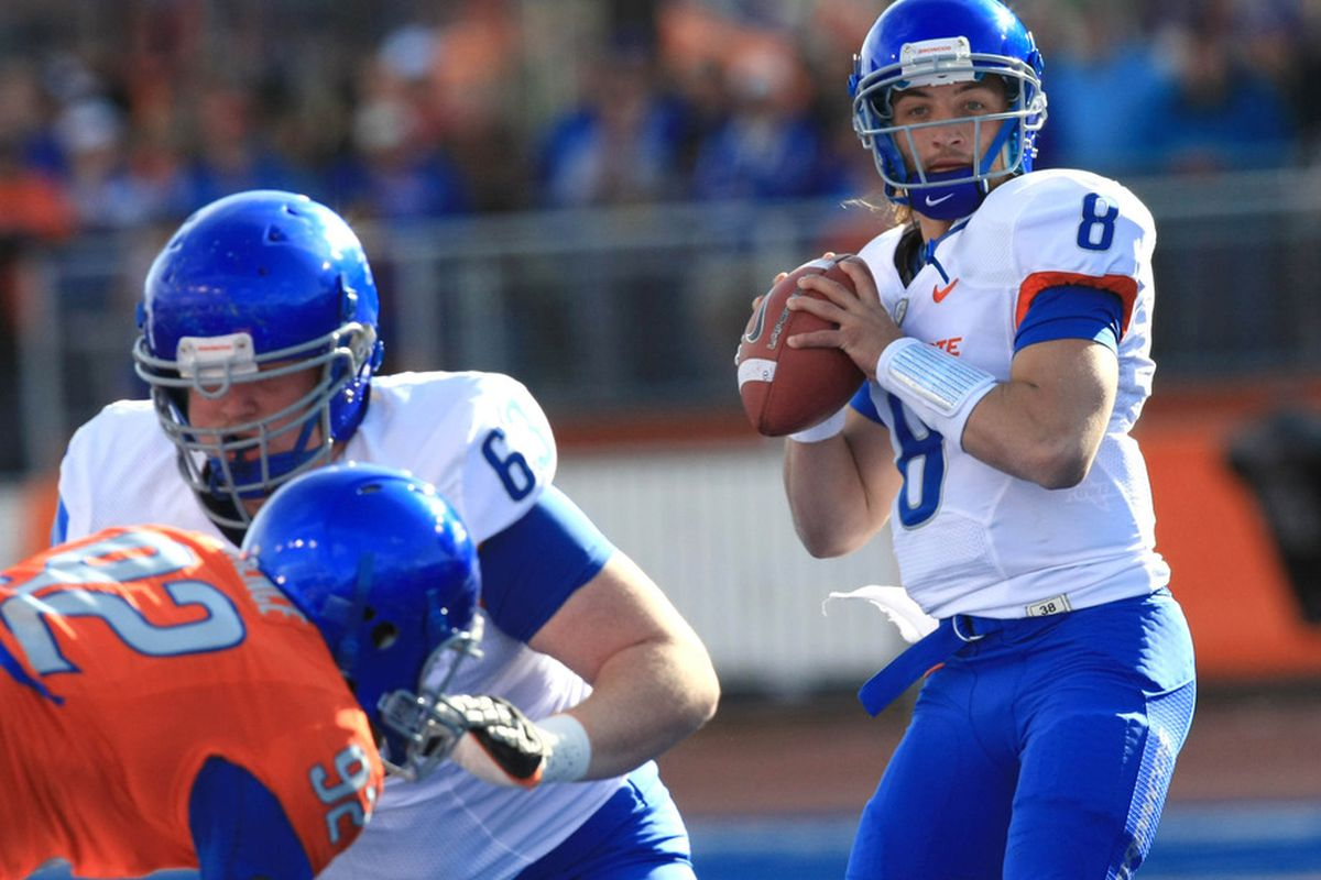 April 16, 2012; Boise, ID, USA; Boise State Broncos quarterback Nick Patti (8) during the spring game at Bronco Stadium.  Mandatory Credit: Brian Losness-US PRESSWIRE