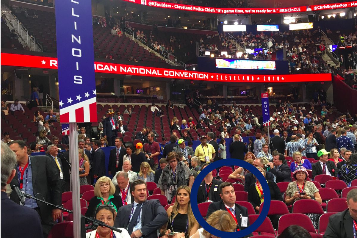 Mike Fratella in the foreground at the 2016 Republican National Convention in Cleveland.