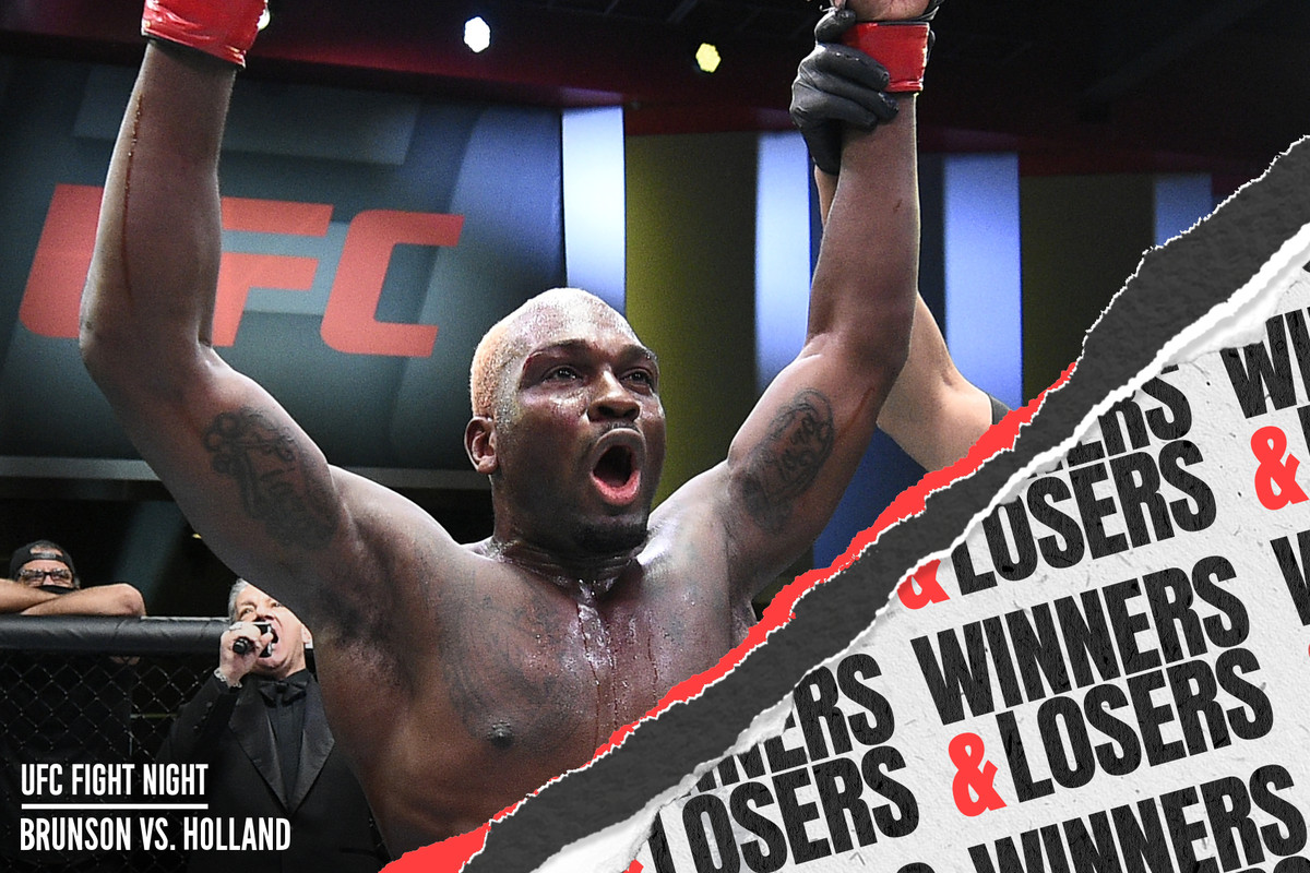 Derek Brunson reacts after his unanimous-decision victory over Kevin Holland in their middleweight fight during the UFC Fight Night event at UFC APEX on March 20, 2021 in Las Vegas, Nevada.