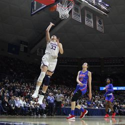 The SMU Mustangs take on the UConn Huskies in a women's college basketball game at Gampel Pavilion in Storrs, CT on January 23, 2019.