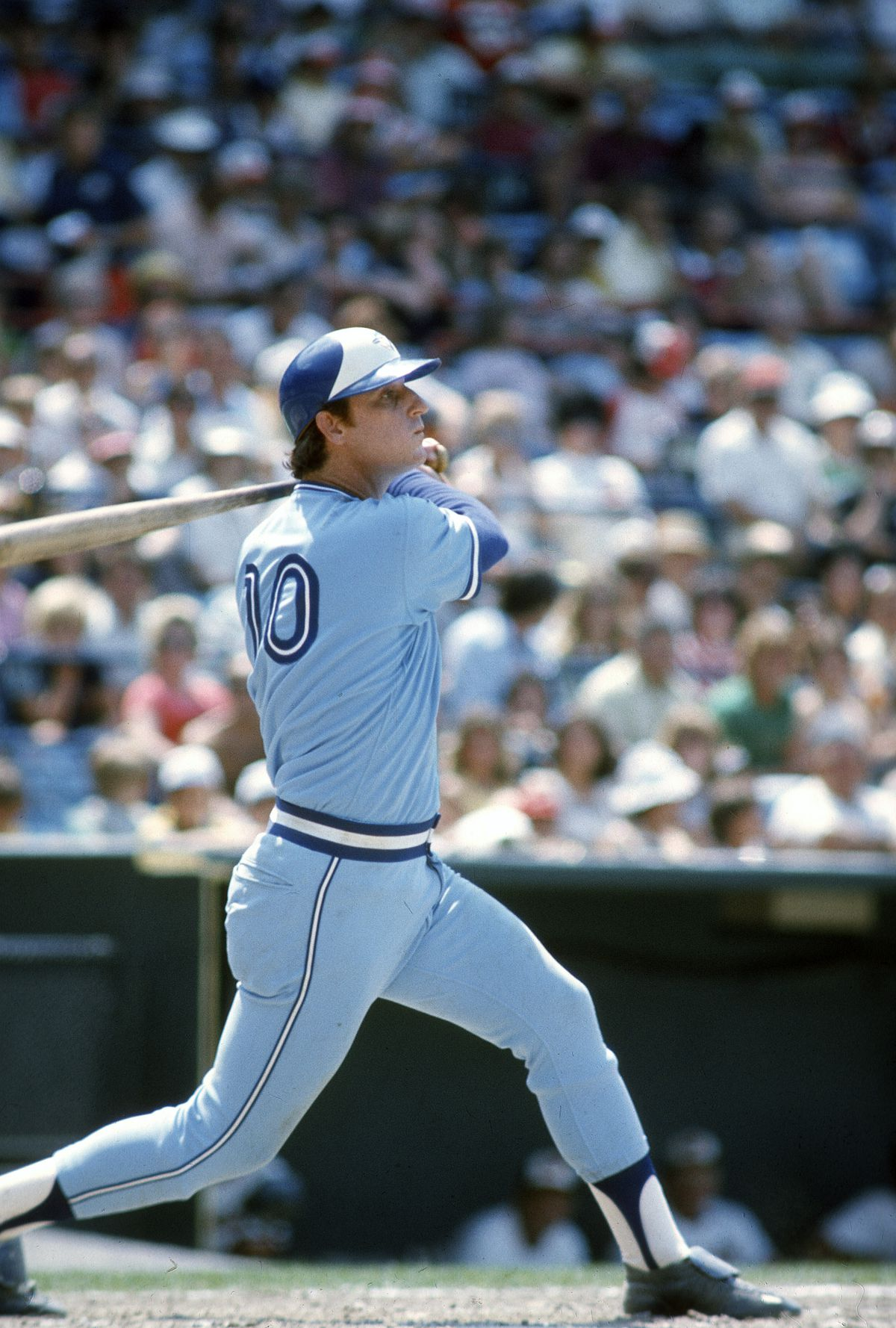 Doug Rader shows off his #10 on a swing in 1977.