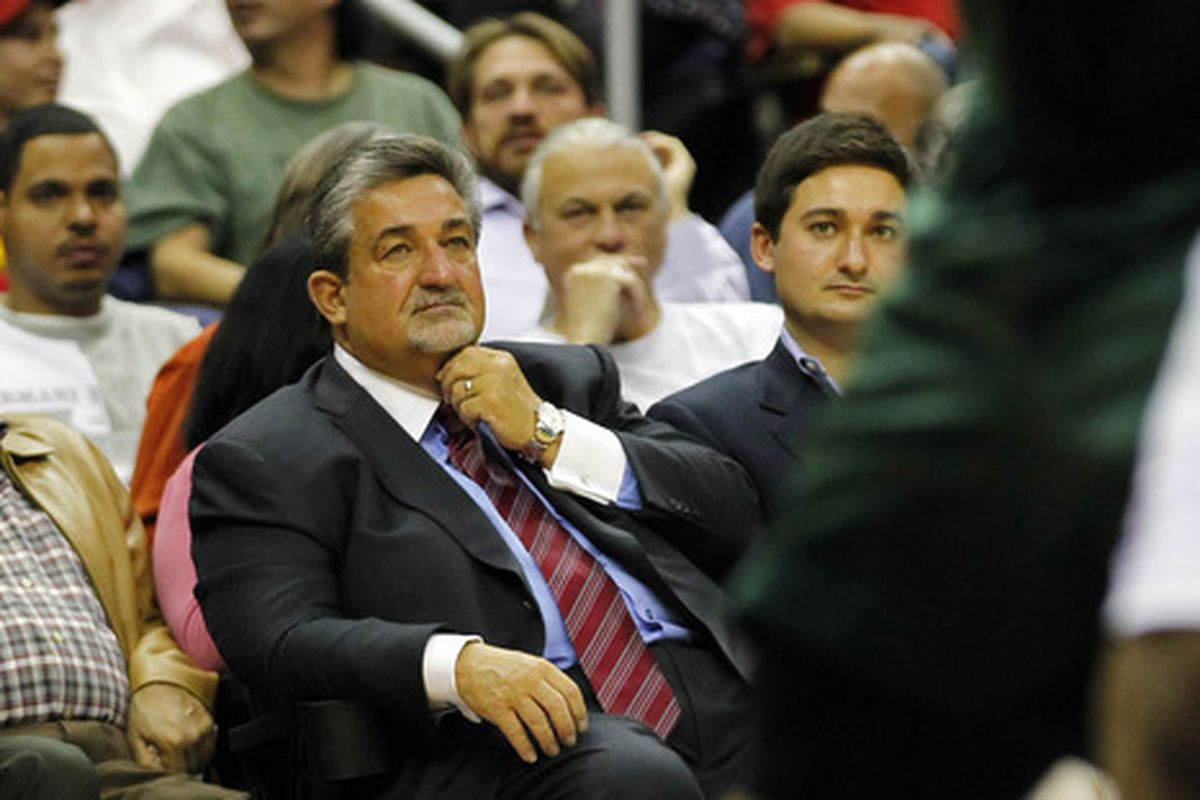 April 2, 2012; Washington, DC, USA; Washington Wizards owner Ted Leonsis watches from court side against the Milwaukee Bucks in the second half at Verizon Center. The Bucks won 112-98. Mandatory Credit: Geoff Burke-US PRESSWIRE