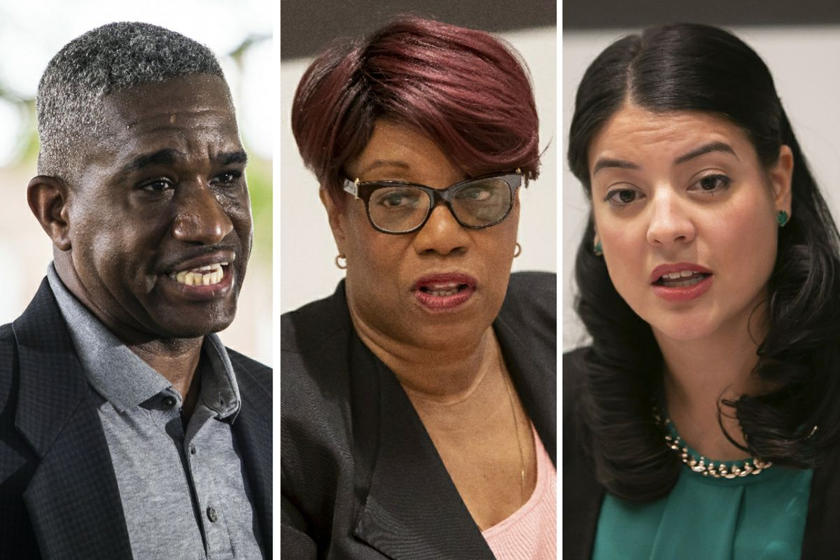 Ald. David Moore (17th), left, in June of 2020; Ald. Pat Dowell (3rd), center, in 2019; City Clerk Anna M. Valencia, right, in 2018.
