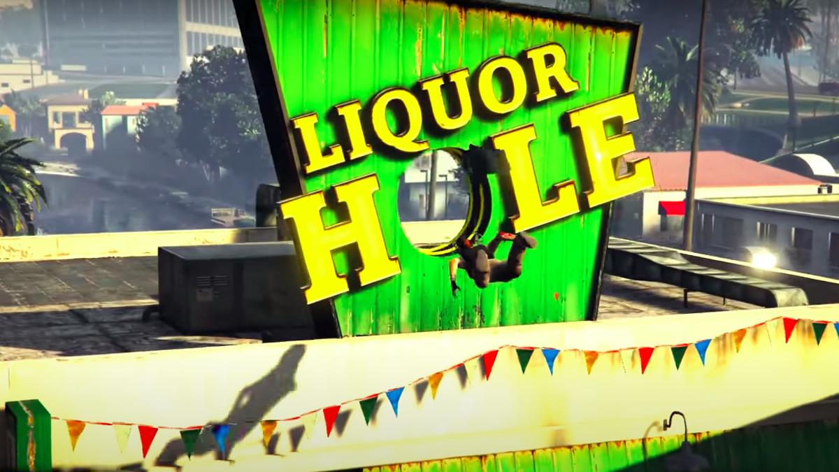 A GTA Online character races toward the Liquor Hole.