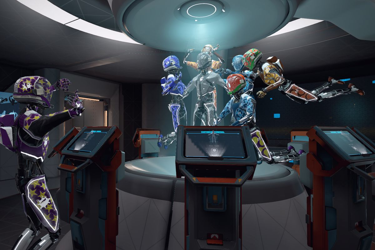 Lone Echo - platform with five people in spacesuits dancing
