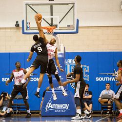 Tony Mitchell lifts for a dunk.