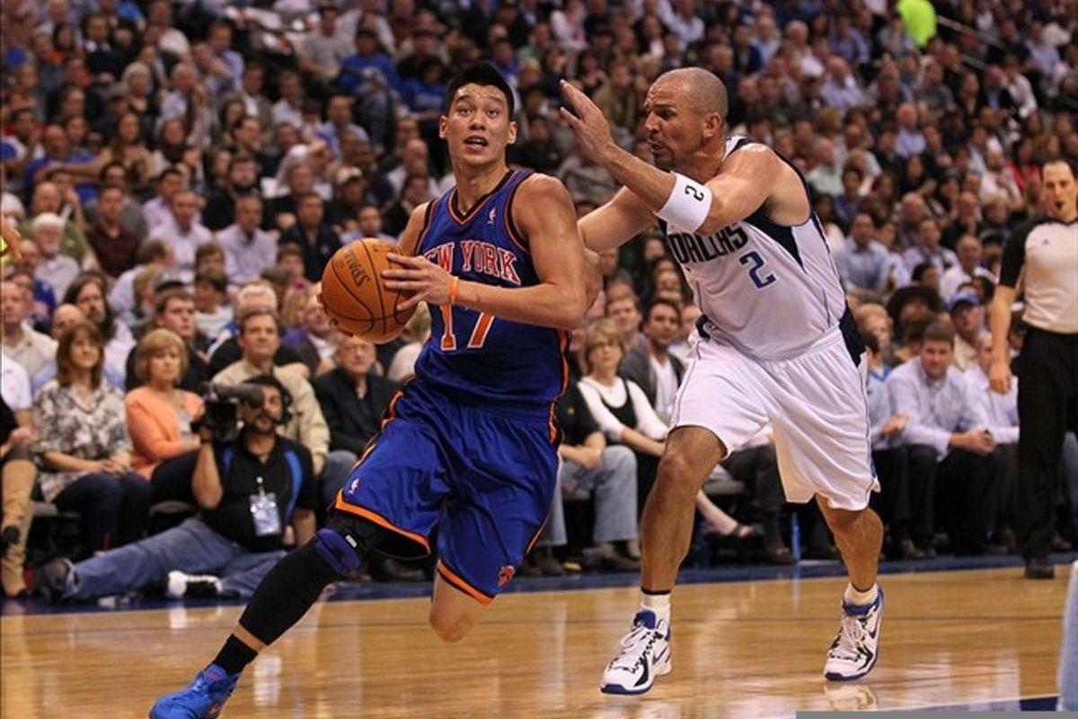 Mar 6, 2012; Dallas, TX, USA; New York Knicks guard Jeremy Lin (17) drives past Dallas Mavericks guard Jason Kidd (2) in the first quarter at American Airlines Center.  Mandatory Credit: Matthew Emmons-US PRESSWIRE