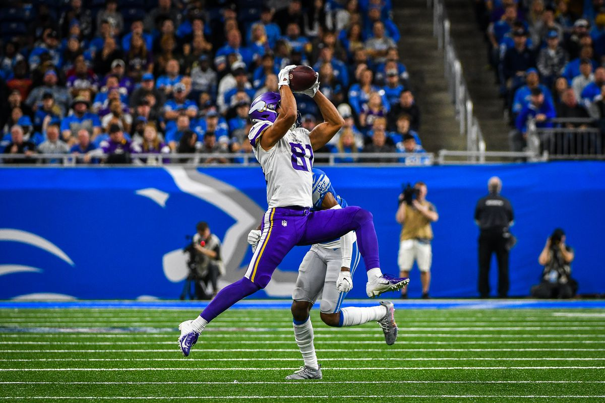 Minnesota Vikings wide receiver Bisi Johnson leaps high to make a catch during the Detroit Lions versus Minnesota Vikings game on Sunday October 20, 2019 at Ford Field in Detroit, MI.