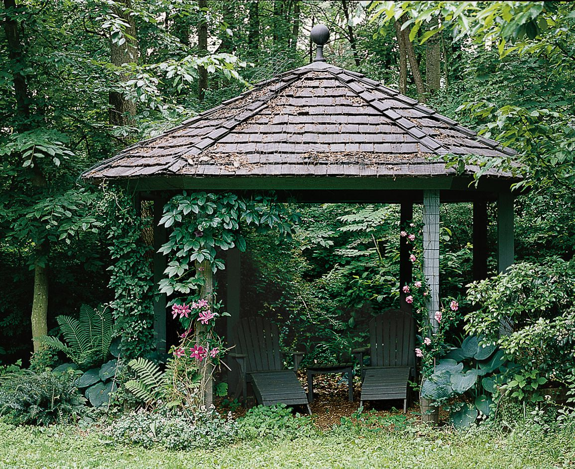 <p>Casual garden gazebo with mulch floor</p>