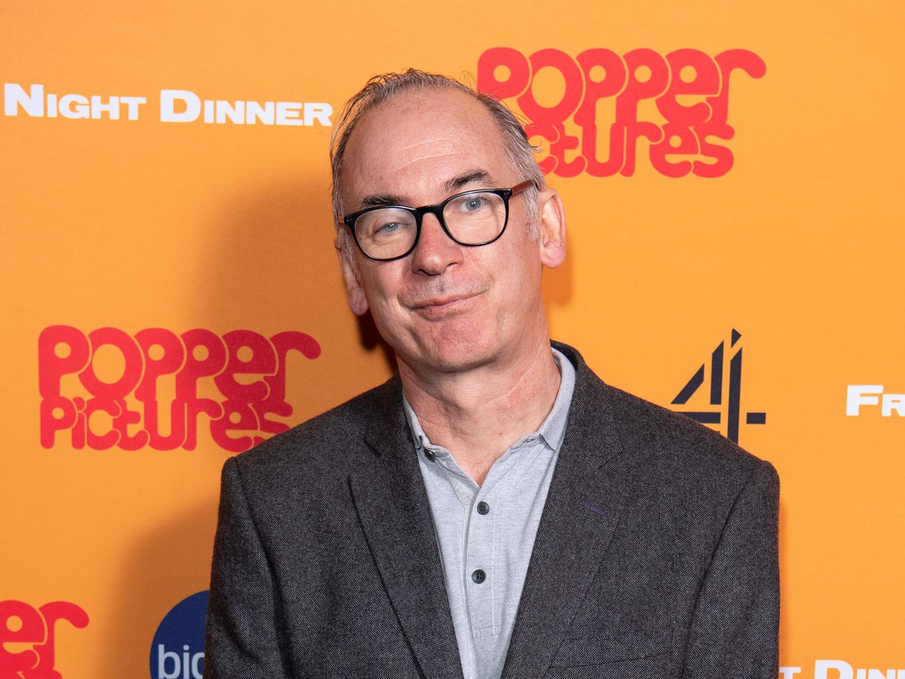 """Actor Paul Ritter attends the """"Friday Night Dinner"""" photocall at Curzon Soho Cinemas 2020, in London, England."""