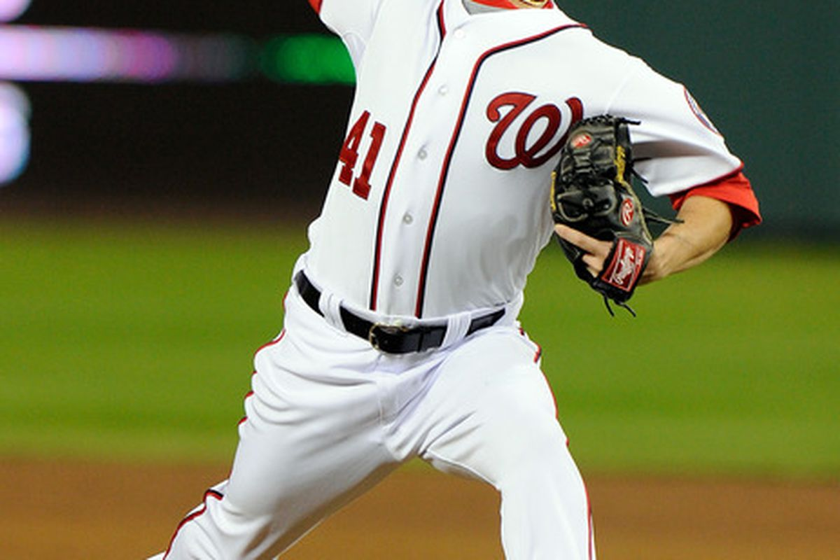 WASHINGTON, DC - SEPTEMBER 06:  Brad Peacock #41 of the Washington Nationals pitches in his major league debut against the Los Angeles Dodgers at Nationals Park on September 6, 2011 in Washington, DC.  (Photo by Greg Fiume/Getty Images)