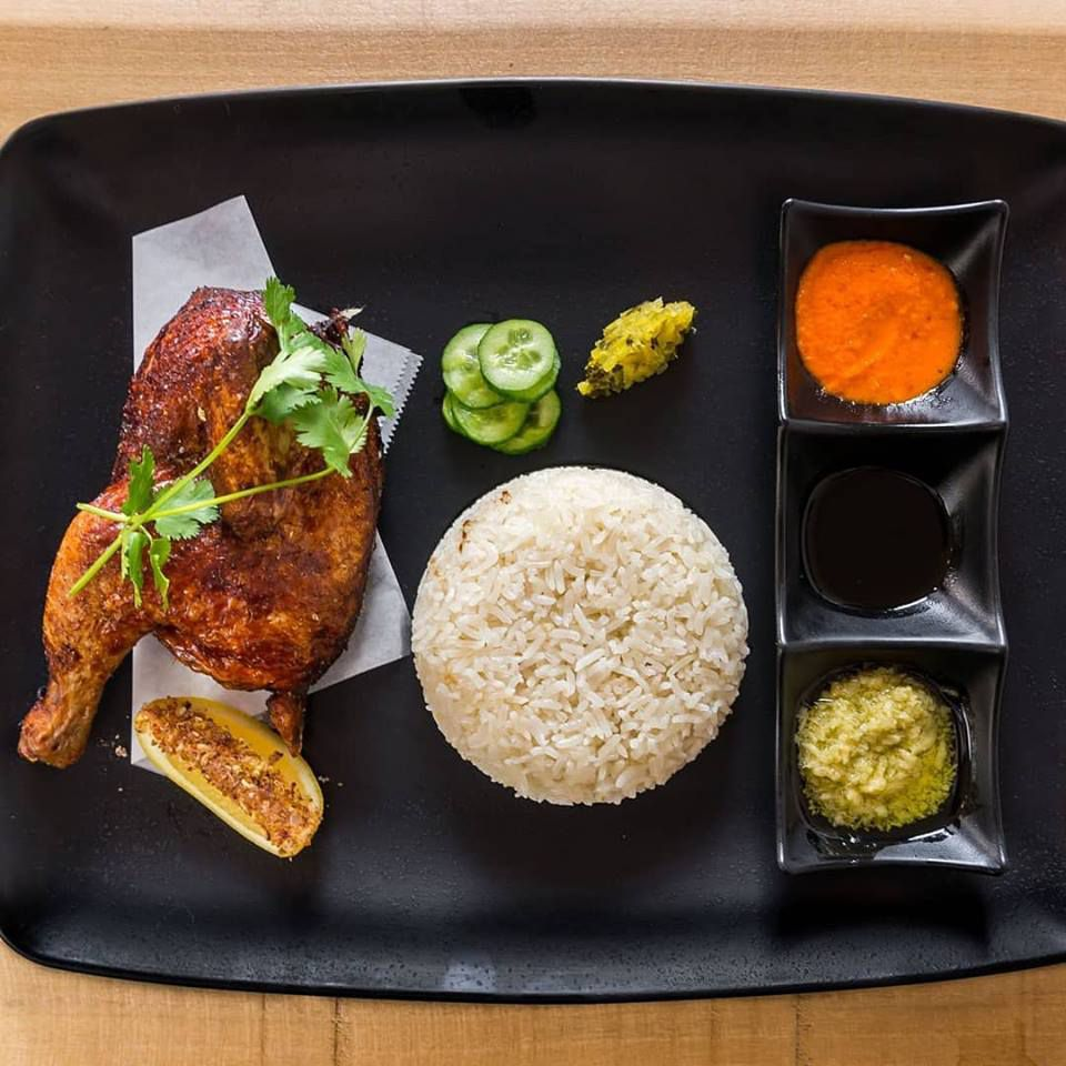 Roasted Hainanese chicken rice at Flock & Fowl