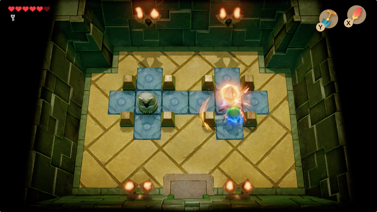 Link's Awakening Key Cavern use the crystal to open a path to the chest containing the Stone Beak