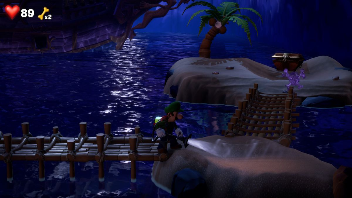 Luigi reveals a purple gem in some sand in Luigi's Mansion 3