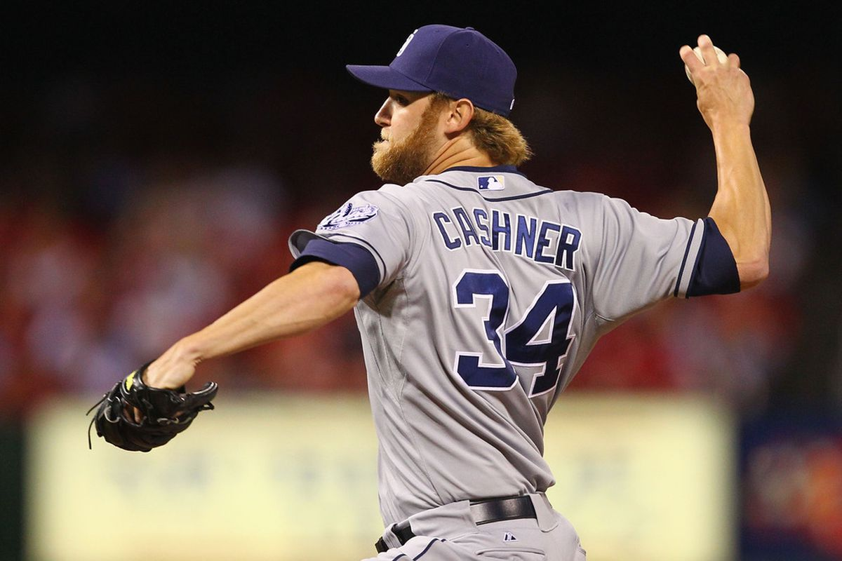 ST. LOUIS, MO - MAY 21: Reliever Andrew Cashner #34 of the San Diego Padres pitches against the St. Louis Cardinals at Busch Stadium on May 21, 2012 in St. Louis, Missouri.  (Photo by Dilip Vishwanat/Getty Images)