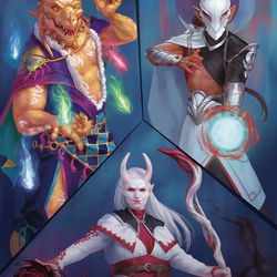A portrait of three mages wielding different types of magic in Tal'Dorei and three of the subclasses included in this sourcebook—the top left is a sorcererwith the Runechild sorcerous origin, the top right is a cleric of the Moon Domain, and the bottom is a wizardof the Blood Magic arcane tradition. The Moon Domain cleric and Blood Magic wizard aretwo of the brand-new subclasses.