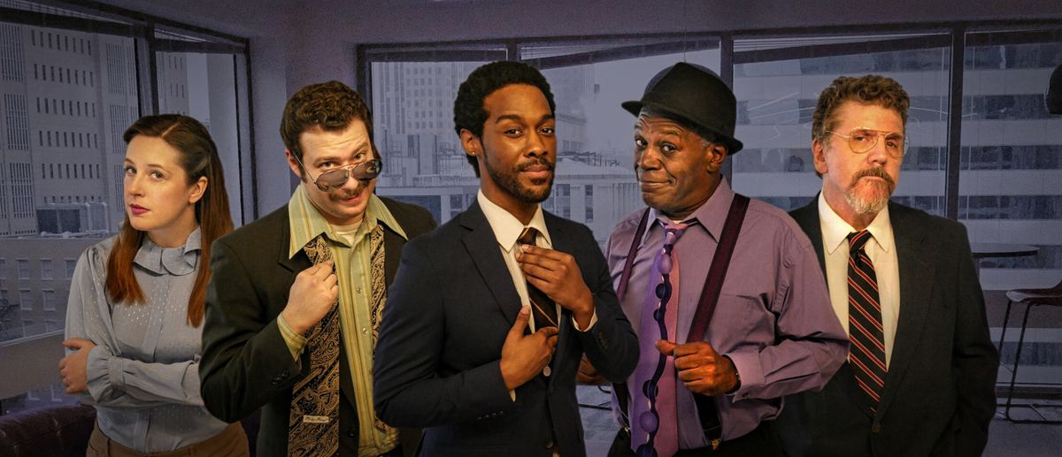 Labyrinth (left to right) Elise Marie Davis, David Weiss, William Anthony Sebastian Rose II, Darren Jones and Robert Koon in a publicity image for Broken Nose Theatre's U.S. premiere of Labyrinth. Photo by Spenser Davis/David Weiss.