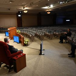 The 190th Annual General Conference of The Church of Jesus Christ of Latter-day Saint is being streamed and broadcasted live from a mostly empty auditorium in the Church Office Building at Temple Square in Salt Lake City due to COVID-19, Saturday, April 4, 2020.