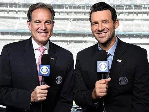 "<em>Jim Nantz called Tony Romo ""Romo-stradamus"" for correctly predicting plays during the AFC Championship Game. CBS Sports</em>"