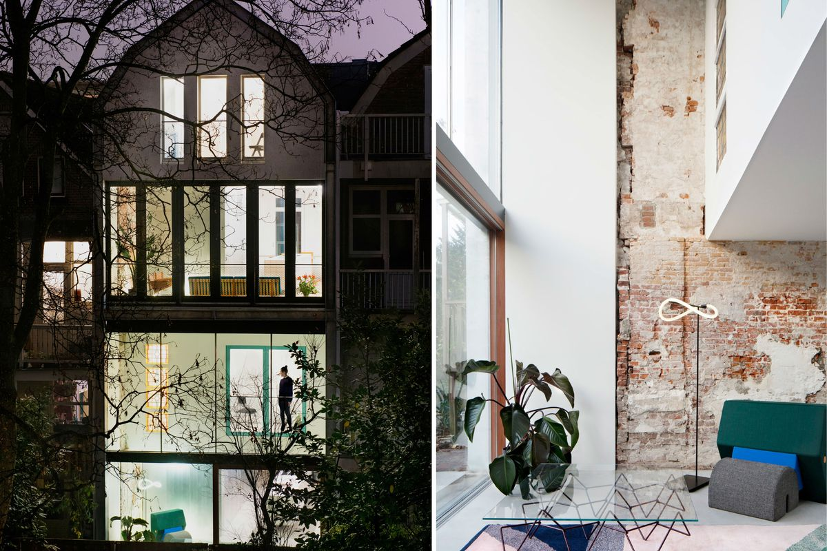 Two photos side by side. One of the back of the four story house at night clad in glass, and the other an interior shot during the day of a bright living area with white walls and a section of exposed brick.